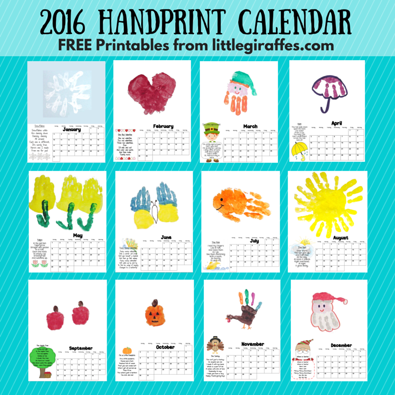 Calendar Ideas For March : Handprint calendar little giraffes teaching ideas a to