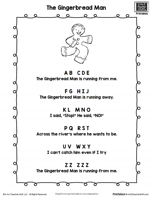 Gingerbread Man Poem Printable {free}